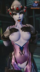 3d areolae batyastudio blender breasts female female_only looking_at_viewer nipples open_mouth overwatch pussy solo tongue tongue_out widowmaker