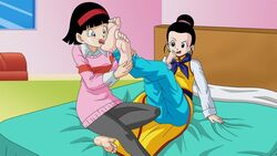 2girls big_breasts chichi dragon_ball_super foot_worship licking_feet milfs mother-in-law_and_daughter-in-law videl