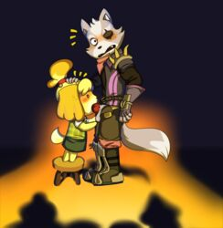 animal_crossing caught hand_on_head isabelle_(animal_crossing) keno9988 oral size_difference star_fox super_smash_bros. wolf wolf_o'donnell