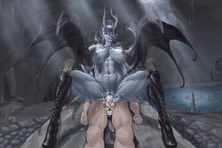 abs areolae arm_grab balls big_lips big_penis black_wings blue_eyes blue_skin boots breasts cave clitoris collarbone cross-laced_footwear cum cum_in_pussy cum_inside cum_leaking cum_on_leg cum_overflow dark_elf death_by_snoo_snoo demon demon_horns demon_wings domination duo earrings evil_grin excessive_cum faceless_male fangs female female_on_top femdom footwear forehead_protector full_body glowing_eyes hairless_pussy held_down high_heel_boots high_heels highres horns huge_breasts human humanoid humanoid_on_humanoid jewelry knee_boots lace-up_boots large_breasts larger_female latex long_boots male malesub membranous_wings monster monster_girl motion_blur motion_lines muscular_female navel necklace nipples nude original plasmidhentai platform_heels pointy_ears pussy rape resisting reverse_cowgirl_position reverse_rape riding sex short_hair sitting_on_penis skull smile solo_focus spade_tail straight succubus sweat tail undercut vaginal_penetration vampire wings