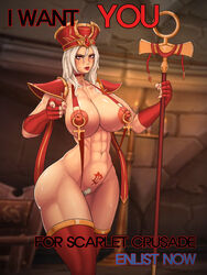 big_breasts choker_necklace eastern_kingdoms erect_nipples fit_female heroes_of_the_storm kingbang legwear looking_at_viewer makeup nipple_piercing opera_gloves pointing_at_viewer pubic_hair red_eyes sally_whitemane scarlet_crusade scarlet_monastery shoulder_pads skimpy_clothes staff sweaty tattoo thick_thighs tirisfal wide_hips words world_of_warcraft