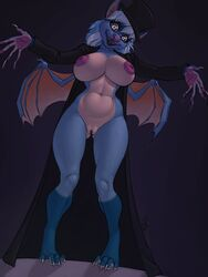 2018 4_toes 5_fingers anthro bat big_breasts biped black_lips blue_fur breasts claws cloak clothing digitigrade eyelashes female fur hair hat head_tilt inverted_nipples ldr long_claws long_coat looking_at_viewer mammal membranous_wings mostly_nude multicolored_fur nipples open_mouth pawpads pink_nose pussy pussy_juice sharp_teeth simple_background small_wings smile solo spread_arms standing tan_belly tan_fur teeth thick_thighs thigh_gap toes top_hat two_tone_fur voluptuous white_eyes white_hair wide_hips wings