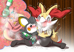 2015 blush braixen emolga feces female grey_eyes japanese_text nintendo pasaran pokémon_(species) pokemon pussy red_eyes scat sex_toy sweat text translation_request urethral urine vibrator video_games