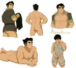 1boy aizenhower ass avatar_the_last_airbender bara black_hair bolin bottomless bubble_butt butt circumcised color digital_media_(artwork) flaccid green_eyes happy human laying laying_down laying_on_stomach looking_at_viewer looking_back male male_only muscle muscles muscular muscular_male naked nickelodeon nipples not_furry nude open_shirt pale-skinned_male pale_skin pecs peeing penis plain_background pubic_hair sad shirt shorts smile solo solo_male tank_top the_legend_of_korra uncensored undressing urine white_background yaoi