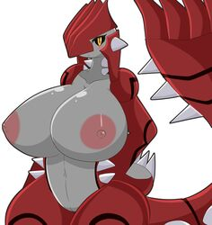 absurd_res anthro anthrofied big_breasts black_sclera blush breasts claws featureless_crotch female groudon hand_on_hip hi_res huge_breasts legendary_pokémon looking_at_viewer nintendo nipples nude open_mouth pokémon_(species) pokemon pussy scalie simple_background solo spikes thick_thighs tousoni3 video_games white_background wide_hips yellow_eyes