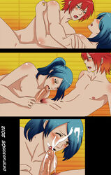 2boys anal anal_sex blue_hair blush comic cum deviantart dk_studios dkstudios05 erection gay human human_only long_hair male male_only moaning multiple_boys multiple_males nude open_mouth oral oral_sex penis ponytail red_hair sex short_hair tagme yaoi
