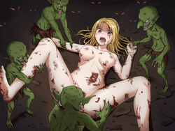 6+boys barefoot blonde_hair blood breasts crowd dark feet female glowing glowing_eyes goblin goblin_slayer gore group_sex held_down leg_up lying medium_breasts monster multiple_boys navel nipples nude on_back open_mouth orgy original peril pussy rape red_eyes restrained scared sharp_teeth smile spread_legs stock-world teeth tongue tongue_out watching