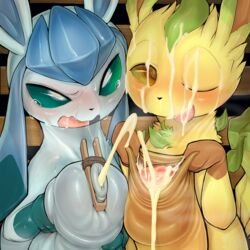 2018 2boys blush cum cum_on_face cum_on_tongue digital_media_(artwork) duo eeveelution foreskin foreskin_play frottage furry gay glaceon heavy_breathing hi_res huge_penis hyper hyper_penis interspecies leafeon looking_at_viewer male male_only nintendo one_eye_closed open_mouth penis pokémon_(species) pokemon pokemon_dppt syuro tongue uncut video_games yaoi