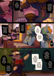 2016 anthro anthrofied ass big_butt biting_lip cape chalkboard classroom clothed clothing comic desk detailed_background dialogue digital_media_(artwork) dress dripping english_text equine eyewear fan_character female friendship_is_magic glasses hair hat hidden_vibrator horn legwear low-angle_view lumo mammal miniskirt multicolored_hair multicolored_tail my_little_pony necktie pussy_juice rainbow_dash_(mlp) rainbow_hair school school_uniform sex_toy shirt sitting skirt smile socks standing sweat sweater_vest teacher tears text thick_thighs thigh_socks twilight_sparkle_(mlp) uniform upskirt vibrator white_hair witch_hat