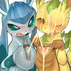 2018 2boys blush cum cum_on_face cum_on_tongue digital_media_(artwork) duo eeveelution foreskin foreskin_play frottage furry gay glaceon hi_res huge_penis hyper hyper_penis interspecies leafeon looking_at_viewer male male_only nintendo one_eye_closed open_mouth penis pokémon_(species) pokemon pokemon_dppt simple_background syuro tongue uncut video_games white_background yaoi