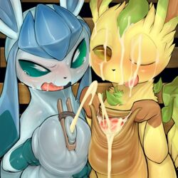 2018 2boys blush cum cum_on_face cum_on_tongue digital_media_(artwork) duo eeveelution foreskin foreskin_play frottage furry gay glaceon huge_penis hyper hyper_penis interspecies leafeon looking_at_viewer male male_only nintendo one_eye_closed open_mouth penis pokémon_(species) pokemon pokemon_dppt syuro tongue uncut video_games yaoi