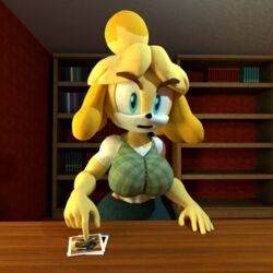 1girl 3d animal_crossing animal_ears anthro bare_shoulders big_breasts blonde_hair blue_eyes busty curvy detailed_background female female_only front_view furry hourglass_figure humanoid indoor inside isabelle_(animal_crossing) looking_at_viewer lowkeydiag mammal open_mouth pose posing room shiny shiny_skin short_hair skirt solo solo_female standing thong video_game video_games voluptuous wide_hips yellow_skin