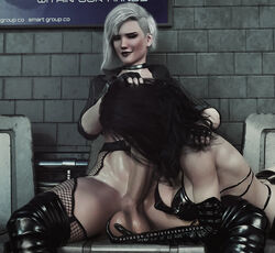 3d ballcaress balls big_breasts breasts cleavage cupping_balls dead_or_alive dickgirl erection fellatio female futanari helena_douglas huge_balls huge_cock large_breasts oral penis spread_legs stevencarson testicles the_witcher thighhighs yennefer