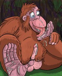 5_fingers 5_toes ape auto_foot_lick barefoot brown_fur cum cum_drip cum_in_mouth cum_inside cum_on_face cum_on_feet cum_on_leg cum_on_penis cum_on_self disney drinking drinking_cum dripping feet foot_fetish foot_lick fur hindpaw jungle_book king_louie licking male mammal monkey orangutan paws penis prehensile_feet primate saliva solo toes tongue tongue_out winserferret