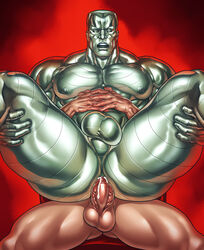 abs anal anal_sex anus areola ass balls bara barazoku biceps chair closed_eyes colossus cum cum_in_ass cum_inside cum_on_penis erection gay human humanoid lyttathebug male male_focus manly marvel maw metalic muscles mutant nipples on_top orgasm pecs penis reverse_cowgirl_position sex sitting solo_focus spread_legs spreading teeth thick_thighs tongue triceps veiny_penis x-men yaoi
