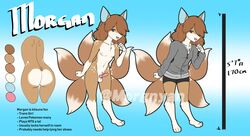 5_tails animal_genitalia animal_penis anthro ass balls barefoot black_nose blue_background blue_eyes blue_nipples breasts brown_fur brown_hair canine canine_penis clothing color_swatch english_text erection fist fox front_view fur girly gradient_background hair hair_over_eye jacket long_hair looking_at_viewer male mammal model_sheet morgan_(thecon) multicolored_fur nipples nude open_mouth open_smile penis pink_penis rear_view shorts simple_background smile solo standing text thecon two_tone_fur white_fur
