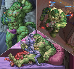 alien anal anal_sex beralin cowgirl_position cum cum_in_ass cum_inside erection group group_sex gun larger_male male male/male on_top penetration penis ranged_weapon reptile scalie scar sequence sex size_difference tattoo threesome weapon