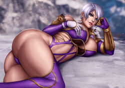 ass big_breasts breasts cleavage female female_only flowerxl isabella_valentine large_breasts looking_at_viewer solo soul_calibur thighhighs