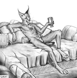 animal_genitalia animal_penis anklet anthro balls bed bracelet caracal cum cum_string cup detailed_background digitigrade ear_piercing ear_tuft erection fangs feline feline_penis fur greyscale hi_res hindpaw holding_cup holding_object inside jewelry looking_at_viewer lounging male mammal monochrome necklace nude on_bed open_mouth pawpads paws penis piercing pillow precum ring sheath short_tail signature solo titusw toe_ring tongue tuft whiskers