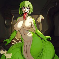2018 4_fingers absurd_res areola bangs big_areola big_breasts breasts eyelashes female forked_tongue green_hair hair hi_res huge_breasts humanoid lamia long_tongue looking_at_viewer midriff modeseven navel nipples nude olivia_(modeseven) purple_eyes pussy reptile scalie signature snake solo tongue voluptuous wide_hips