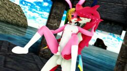 3d_(artwork) a_link_to_the_past anal anal_sex anthro balls blue_eyes blush breath_of_the_wild digital_media_(artwork) duo erection french_kissing fur humanoid_penis kissing lagomorph link_(rabbit_form) male male/male malicekira mammal marine nintendo nude penetration penis pink_fur rabbit sex sidon_(zelda) stand_and_carry_position standing the_legend_of_zelda tongue tongue_out video_games zora