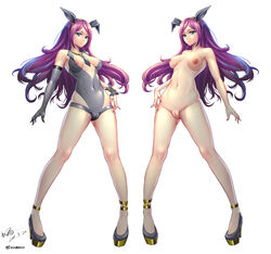 absurdres animal_ears anklet aqua_eyes areola_slip areolae artist_name bare_shoulders breasts breasts_apart bunny_ears cameltoe censored closed_mouth collarbone covered_navel dated elbow_gloves erect_nipples eyebrows_visible_through_hair fake_animal_ears female female fingernails full_body gloves gluteal_fold grey_gloves grey_leotard hairband happy high_heels highres jewelry konishi_(pixiv12218414) leotard long_hair looking_at_viewer medium_breasts multiple_views nail_polish nipples nude original purple_hair purple_nails scrunchie shiny shiny_clothes shiny_hair shoes signature simple_background single_glove smile standing watermark weibo_username white_background wrist_scrunchie yellow_hairband