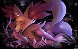 1boy 1girl 2018 anthro ass big_ears blush breasts canine catcouch closed_eyes cum cum_on_face cum_on_penis delphox detailed_background duo erection eyelashes fellatio female fox fur furry grass heart human interspecies large_penis licking male mammal moon night nintendo nude on_back on_top oral outdoors penis pokémon_(species) pokemon pokemon_xy pokephilia pubic_hair raised_tail red_fur saliva size_difference sky stick straight tail teeth testicles text thick_thighs tongue tongue_out trembling video_games watermark wide_hips yellow_fur