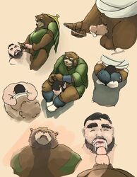 2018 anthro balls belly bezdomny brown_fur closed_eyes clothing cum duo erection fur gyobu hat human human_on_anthro humanoid_hands interspecies male male/male mammal oral overweight overweight_male penis robe simple_background tokyo_afterschool_summoners