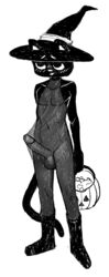 balls black_fur blush candy catboy_(comic) clothed clothing erection feline feline food fur halloween hat henry_(catboy) holidays kaboozey male mammal partially_clothed penis translucent witch_hat