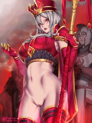 female female_only heroes_of_the_storm kumiko_(aleron) large_breasts no_pants nude pussy red_clothing red_eyes sally_whitemane scarlet_monastery staff white_hair world_of_warcraft