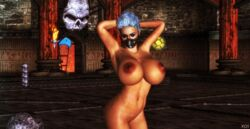 3d areolae arms_behind_head ass belly blue_eyeshadow blue_hair breasts closed_eyes eyebrows eyelashes eyes eyeshadow female frost game huge_breasts huge_nipples large_areolae large_breasts legs makeup mask masked mortal_kombat navel nude pose pubic_stubble pussy render shrine skull solo tan video_game xnalara xps