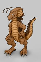 2018 alien animal_genitalia arthropod claws digitigrade dragon103 genital_slit grey_background hi_res hindpaw insects male mandibles nude paws scalie simple_background slit smile solo standing starcraft video_games whitedragon103 zerg