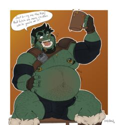 belly big_belly bulge dulynoted erection humanoid male open_mouth orc precum vore