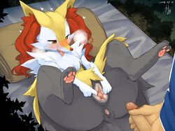 1boy 1girl anatomically_correct anatomically_correct_pussy animal_genitalia animal_pussy anthro anus black_fur blush braixen canine canine_pussy duo edit faceless_male female female_focus fluffy fur furry half-closed_eyes heavy_breathing human human_on_anthro imminent_sex interspecies kame_3 lying male male_on_anthro mammal mosaic_censorship nintendo nude on_back panting penis pokémon_(species) poképhilia pokemon pokemon_xy presenting presenting_pussy pussy red_eyes red_fur solo_focus spread_pussy spreading straight text thick_thighs tongue uncensored veins veiny_penis video_games watermark wide_hips yellow_fur