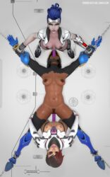 3d abs black_eyes black_hair blender bondage breasts chained chains dark-skinned_female dark_skin dildo double_penetration female female_pubic_hair group_sex high_resolution lesbian medium_breasts mexican muscle muscular_female oral overwatch pharah pharah-best-girl pubic_hair rape sex sex_toy sombra spitroast strap-on talon_sombra talon_widowmaker tanlines tanned threesome torn_clothes widowmaker yuri