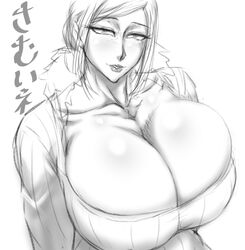 1girl big_breasts black_and_white blush busty cleavage curvy eyelashes female female_only front_view hourglass_figure human japanese_text looking_at_viewer pose posing short_hair simple_background sketch solo solo_female sweater text translation_request voluptuous white_background wide_hips zensyuui