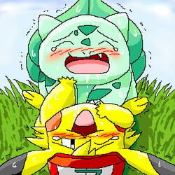 1boy ambiguous_gender ashchu blush bulbasaur closed_eyes drooling furry grass hat interspecies male nintendo outdoors pasaran pikachu pokémon_(species) pokemon pokemon_rgby rodent saliva scalie sex simple_background source_request sweat teeth trembling video_games white_background