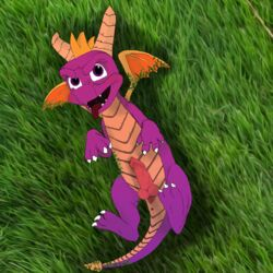 anus claws digital_media_(artwork) dragon feral grass horn invalid_color invalid_tag looking_at_viewer lying male on_back open_mouth penis smile spyro spyro_the_dragon teeth tongue video_games wings