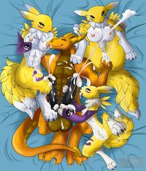 abs bed big_breasts breasts cum digimon dragon female invalid_tag iron_sunsetscales knot male muscular ni3ls nude paws penis pussy renamon size_difference