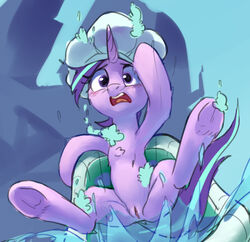 2018 bathtub blush equine falling female feral friendship_is_magic hair horn iuth looking_at_viewer mammal my_little_pony outside pussy sky solo starlight_glimmer_(mlp) unicorn water