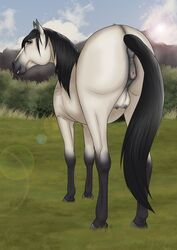 2018 anatomically_correct anatomically_correct_anus anatomically_correct_pussy animal_genitalia animal_pussy anus ass black_fur black_mane black_tail blue_sky brown_eyes cloud day detailed_background digital_media_(artwork) equine equine_pussy eyebrows female feral fur grass grey_anus grey_hooves grey_pussy hi_res hooves horse lens_flare long_tail looking_at_viewer looking_back mammal mane multicolored_fur outside presenting presenting_hindquarters puffy_anus pussy quadruped rear_view sky smile solo tabascocat tan_fur teats two_tone_fur