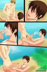 2boys beach blonde_hair brown_hair comic deviantart dk_studios dkstudios05 erection gay human human_only male male_only multiple_boys multiple_males nude outdoors penis short_hair tagme uncensored yaoi