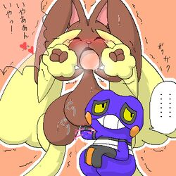 1girl ambiguous_gender anthro big_ears blush brown_fur closed_eyes croagunk drooling duo female fisting furry heart heavy_breathing interspecies japanese_text lagomorph long_ears lopunny nintendo nude open_mouth orange_background pasaran pokémon_(species) pokemon pokemon_dppt purple_skin pussy pussy_juice saliva source_request squatting standing sweat tears text thick_thighs tongue translation_request trembling vaginal_fisting video_games wet white_border wide_hips