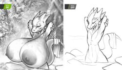 big_breasts blatant_theft breasts closed_eyes edit female forest hands_behind_head huge_breasts meme monochrome solo traced tree water