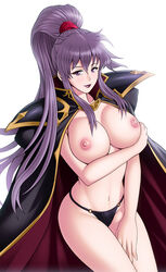 bare_breasts bare_chest breasts cape female female_only fire_emblem fire_emblem_4 ishtar ishtar_(fire_emblem) large_breasts long_hair looking_at_viewer nintendo nipples ponytail purple_eyes purple_hair shoulder_armor smile underwear