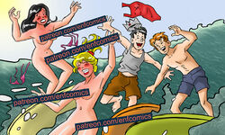 archie_andrews archie_comics beach betty_cooper blonde_hair brown_hair male red_hair surfing veronica_lodge