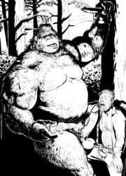 2018 5_fingers balls beard belt biceps bigfoot black_and_white body_hair camera_view cellphone chest_hair clothed clothing cureboltium duo erection facial_hair fellatio human humanoid humanoid_penis larger_male male male/male mammal monochrome nature navel nipples open_mouth open_pants open_shirt oral overweight overweight_male pants pecs penis penis_size_difference phone precum sex size_difference smaller_male stomach_hair tree vein veiny_penis