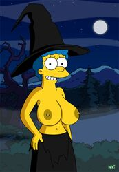 1girl animated animated_gif big_breasts big_nipples blue_hair breast_expansion breasts color cosplay female female_only human magic marge_simpson milf nipples open_mouth outdoors outside simpsons surprised the_simpsons topless wardrobe_malfunction witch_costume witch_hat wvs yellow_skin