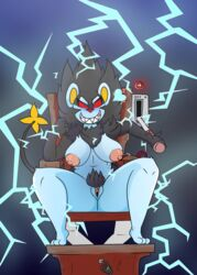 5_fingers anthro big_breasts black_fur blue_fur breasts electric_chair electricity female fur heart iguanasarecool luxray nintendo nipples pokémon_(species) pokemon pubes pussy red_eyes sitting smile solo switch video_games