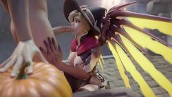 3d alternate_costume animated areolae blender breasts cawneil erection fellatio female male mercy nipples oral overwatch penis sound straight webm witch_mercy